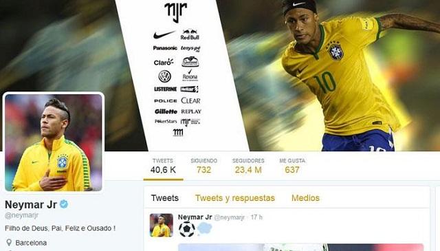 Neymar es el deportista latinoamericano más seguido en Twitter.