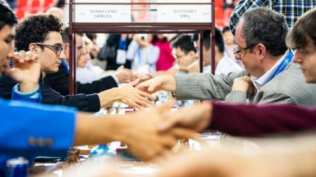 Caruana parece estar listo para enfrentar a Carlsen. Foto del duelo contra Israel, de Maria Emelianova / Chess.com