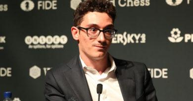 Fabiano Caruana no quiso comentar sobre el vídeo. Foto: Mike Klein/Chess.com