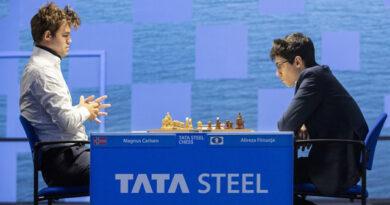 En la primera ronda del Wijk aan Zee, Magnus Carlsen venció a Alireza Firouzja. Foto: Tomada del sitio oficial del evento.