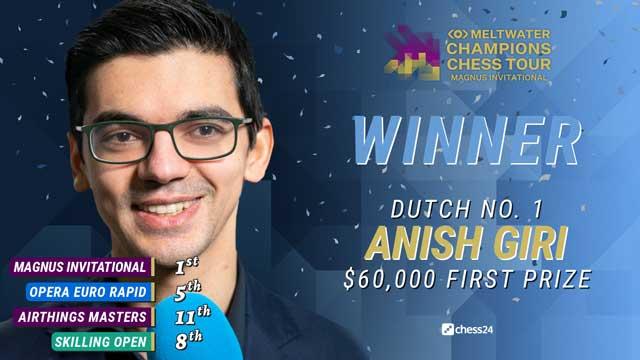 Anish Giri venció a Ian Nepomniachtchi en las dos partidas blitz de desempate y conquistó el torneo Magnus Carlsen Invitational