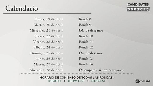 Calendario de la reanudación del Torneo de Candidatos. Foto: Chess24