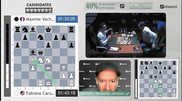 Momento en el que Caruana sacrifica al alfil en c4. Foto: Tomada del perfil en Twitter de Chess24