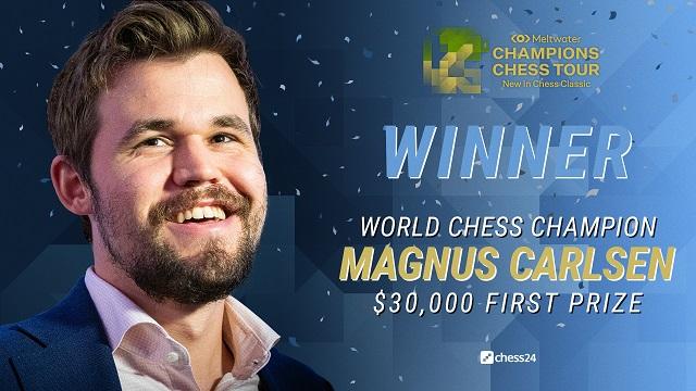 Magnus Carlsen superó a Hikaru Nakamura, en el match por el título del torneo New in Chess Classic, quinta parada del Champions Chess Tour.