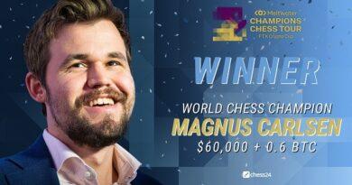 Magnus Carlsen superó a Wesley So en la partida Armagedón y se proclamó campeón de la FTX Crypto Cup, sexta parada del Champions Chess Tour.