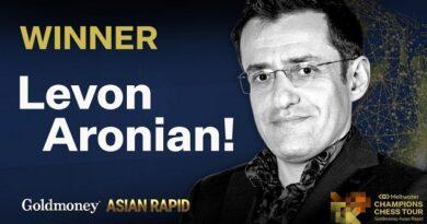 El Gran Maestro armenio Levon Aronian ganó convincentemente el Goldmoney Asian Rapid, séptima parada del Meltwater Champions Chess Tour, al superar al ruso Vladislav Artemiev en los dos matches de la final