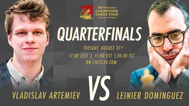 El GM Leinier Domínguez igualó a dos puntos el primer match de cuartos de final ante Vladislav Artemiev, en el Aimchess US Rapid