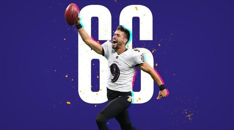 El pateador de los Cuervos de Baltimore, Justin Tucker, logró un récord en la NFL: el gol de campo más largo en la historia: ¡66 yardas!